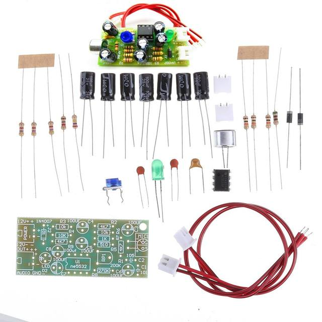 Microphone Amplifier Module Microphone Pickup Audio DIY Kit Dual Track Output Gain Adjustable DC 12V 3.5mA MIC Sound Voice