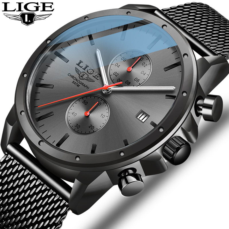 2020 New LIGE Black Casual Mesh Belt Fashion Quartz Gold Watch Mens Watches Top Brand Luxury Waterproof Clock Relogio Masculino