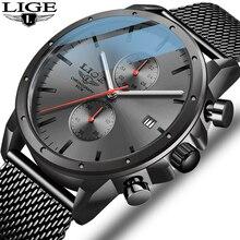 2020 New LIGE Black Casual Mesh Belt Fashion Quartz Gold Watch Mens Watches Top