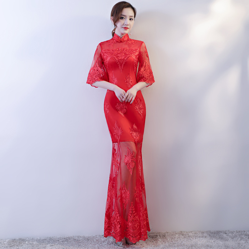Bridesmaid Sale High/low Scoop No Vestido De Noiva 2020 Cheongsam Dress Party Shows New Improved Fashion Slim Long Lace Sexy