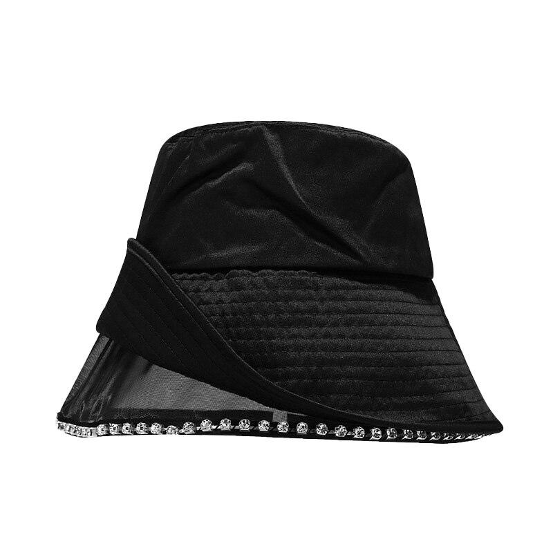 Wholesale Lace Shining Diamend Fisherman Hat Korean Personality Trend Mesh Basin Hat Spring Summer Travel Sunscreen Hat Women