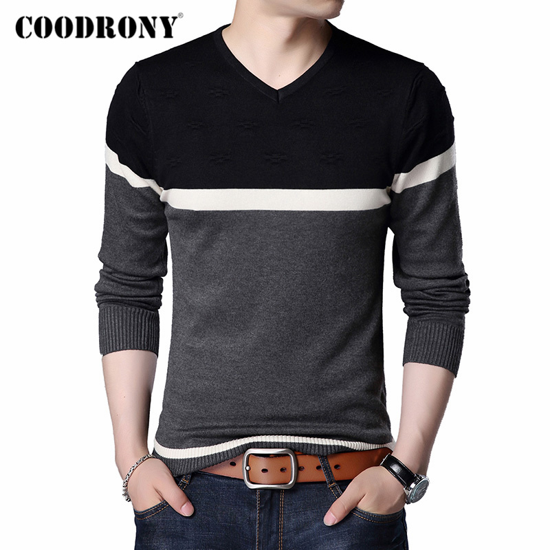 COODRONY Brand Sweater Men Casual Striped V-Neck Pull Homme Autumn Winter Cotton Pullover Men Jersey Hombre Knitwear Shirt C1007