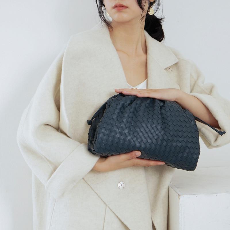 Saco de tricô de luxo das mulheres saco de envelope tecido de couro real design volumoso forma arredondada bolsas e bolsas embreagem louis marca - 2
