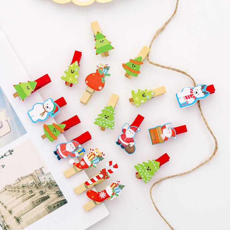 10pcs/lot Cute Wooden Christmas Festival Decorative Photo Card Paper Clip Santa Claus Socks Tree Clips School Promotion Gift Set