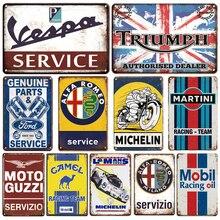 Martini Metal Plaque Tin Sign Vintage Vespa Service Metal Poster Garage Decorative Plates Retro Garage Room Man Cave Wall Decor