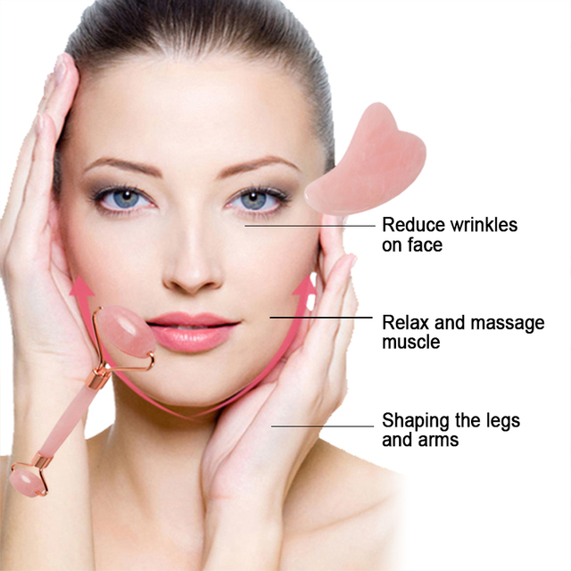 Jade Roller Face Massager Lift Slimmer Shaper Massage Rose Quartz Natural Stone Crystal Slimming Health And Beauty Skincare Tool 1