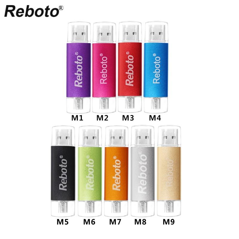 Reboto OTG USB Flash Drive 4GB 8GB 16GB Pen Drive 32GB 64GB Colorful Memory Stick Mini U Disk Pendrive USB 2.0 Gift