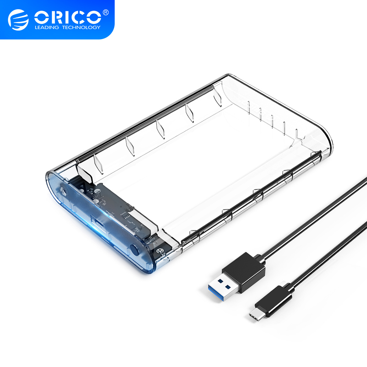 ORICO 3.5 Inch Type C Transparent HDD Case SATA to <font><b>USB</b></font> <font><b>3.1</b></font> <font><b>SSD</b></font> Adapter 12TB Hard Disk Drive <font><b>Box</b></font> External Storage HDD Enclosure image