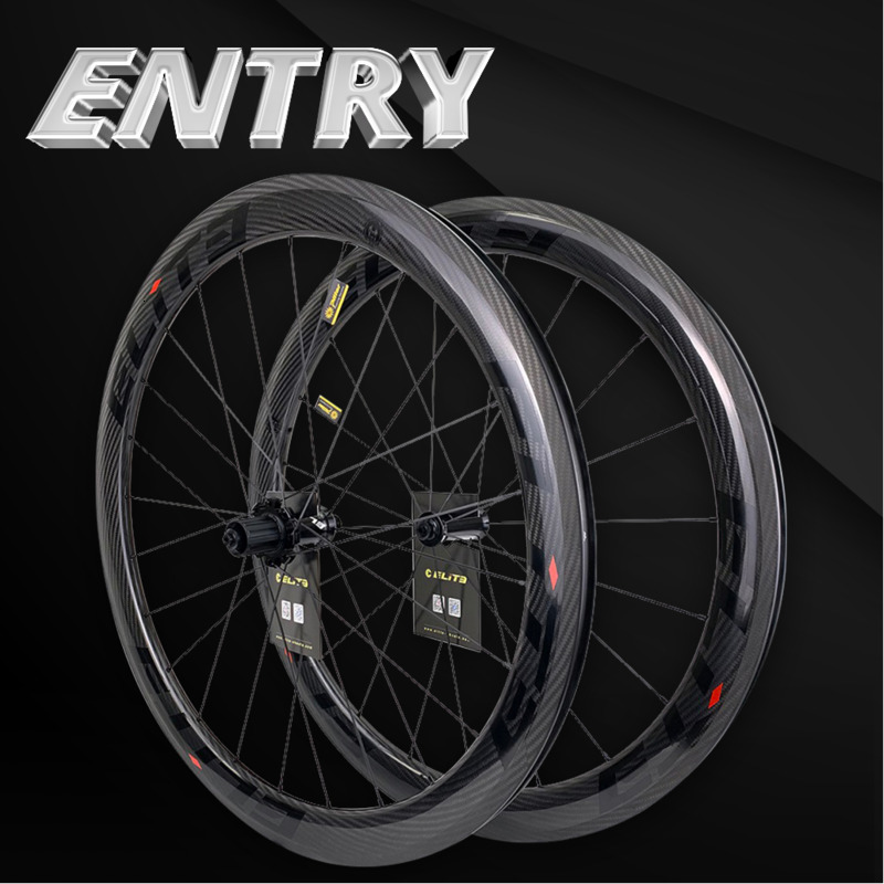 Elite 700c Road Bike Carbon Wheels 3k Twill UCI Quality Carbon Rim Tubeless Ready Sapim Secure Lock Nipple Road Cycling Wheelset