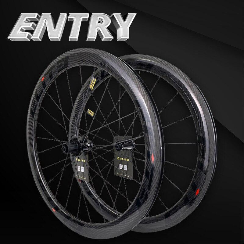 Elite 700c vélo de route carbone roues 3k Twill UCI qualité carbone jante Tubeless prêt Sapim serrure sécurisée mamelon route cyclisme roues