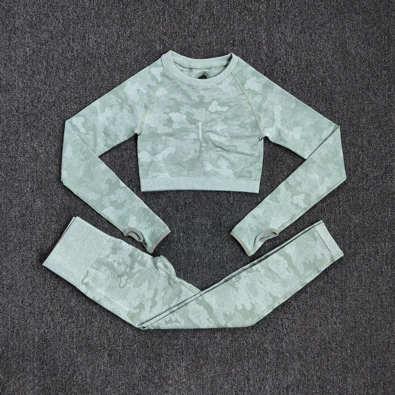 Yoga Set Women Seamless Fitness Clothing Yoga Sport Long Sleeves Tops Camouflage Gym Leggings Pants Suit Workout Sportswear