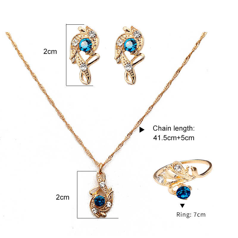 Luksusowy czerwony niebieski biały kryształ CZ wisiorek naszyjniki zestaw kolczyków dla kobiet złoty zestaw biżuterii ślubnej Rhinestone akcesoria