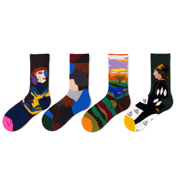 Unisex Funny Print Socks Oil Painting 1 Pair Cotton Four Seasons Ins Style Colorful Mid Women Streetwear
