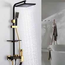 Бесплатная доставка, светильник для ванной YUJIE, роскошный стиль, черный медный корпус, Душевая насадка, бустер, распылитель, кран, фотография