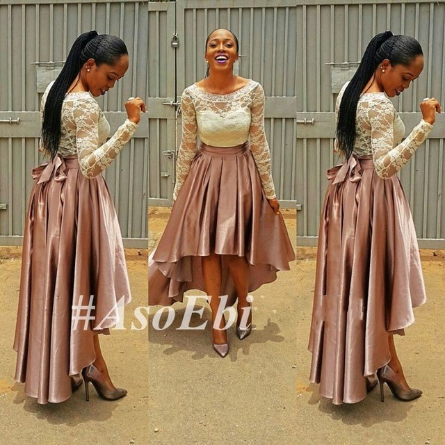 Vestido De Festa Latest African Custom Made High Low Lace Prom Gown With Long Sleeves Ghanaian Style Party Bridesmaid Dresses