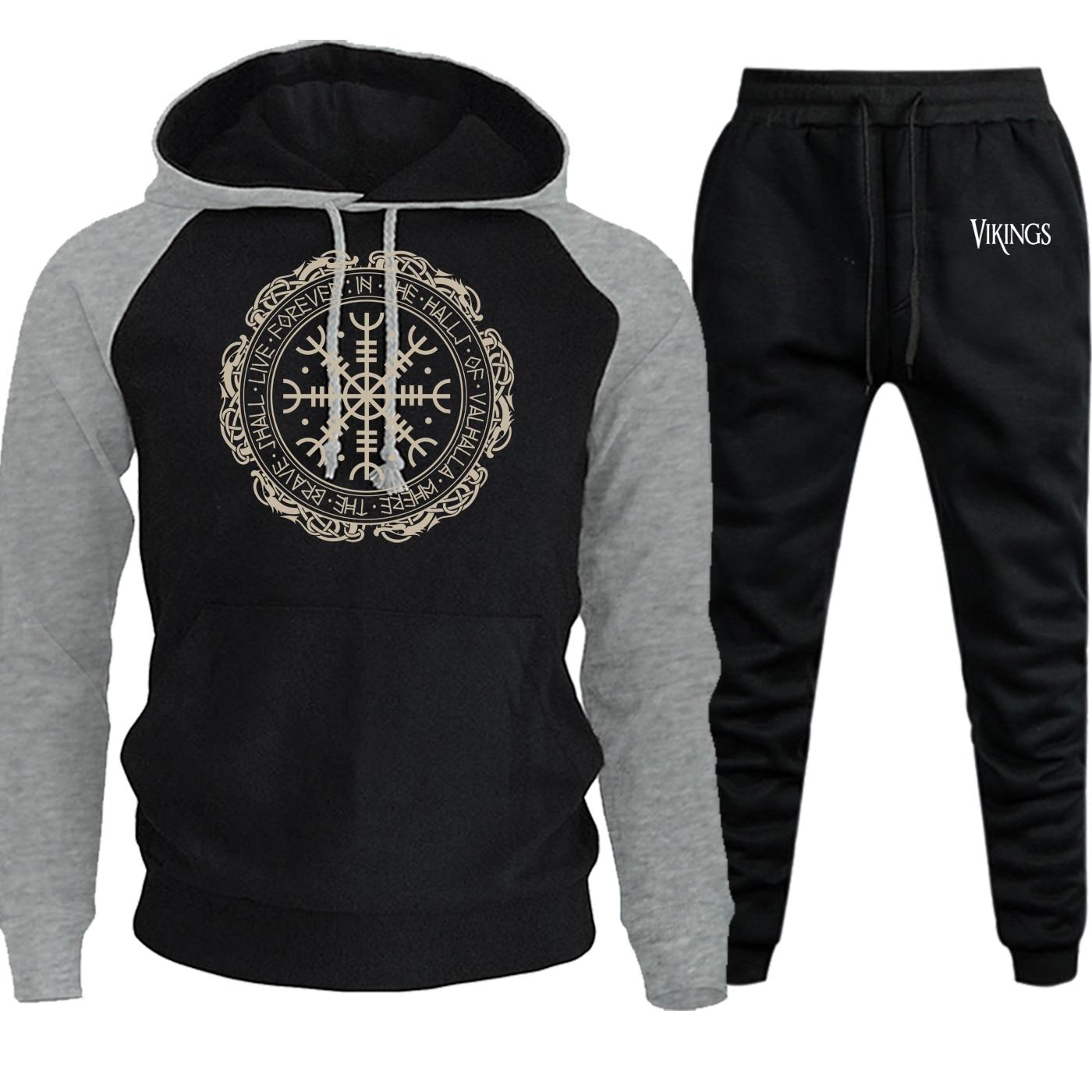 Vikings Fashion Sweatshirts Men Raglan Hoodies Autumn Winter 2019 New Casual Pullover Suit Male Fleece Hooded+Pants 2 Piece Set