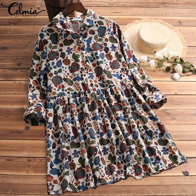 S-5XL Celmia Bohemian Floral Print Dress Women Vintage Mini Dresses 2019 Fashion Long Sleeve Pleated Shirt Vestidos Plus Size 4