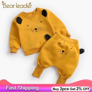 Urso líder conjuntos de roupas bebê recém-nascido nova primavera toddle roupas do bebê moda legal leão topo + calças 2pcs traje crianças roupas