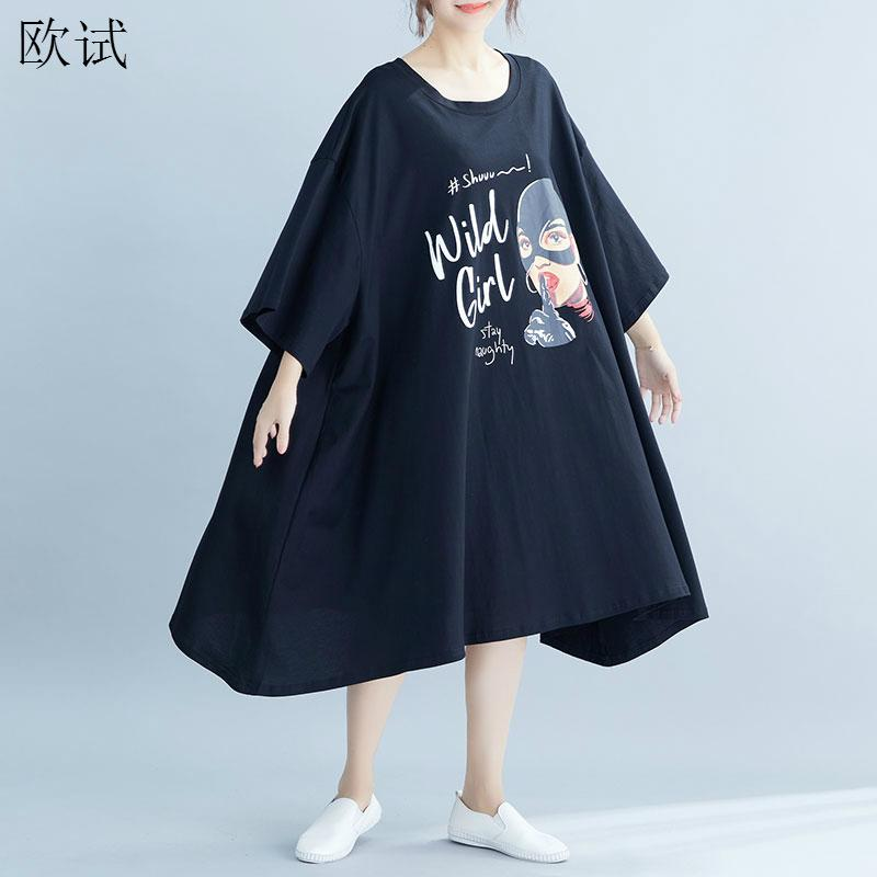 <font><b>Plus</b></font> <font><b>Size</b></font> <font><b>Dresses</b></font> for Women 4XL 5XL 6XL <font><b>7XL</b></font> 8XL Oversized T Shirt <font><b>Dress</b></font> Korean Loose Midi Ladies Summer Cotton Casual <font><b>Dress</b></font> 2020 image