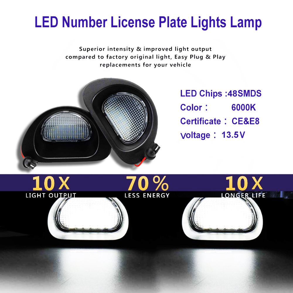 2pcs White Car LED Number License Plate Lights Lamp 12V For CITROEN C1 Peugeot 107 Error Free Led License Plate Lights in Signal Lamp from Automobiles Motorcycles