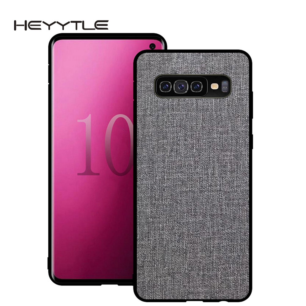 Heyytle Canvas Phone Case For Samsung S10 Plus S8 S9 Note 8 9 Fabric Cloth Texture Cover For Galaxy S7 Edge A6 A8 M20 M10 Coque sticker