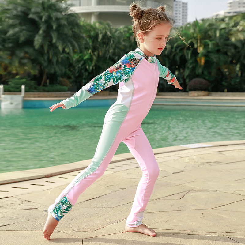 2019 New Style Sports Outdoor CHILDREN'S Long-sleeved One-piece Swimsuit Sun-resistant Mixed Colors Diving Suit Men And Women Ch