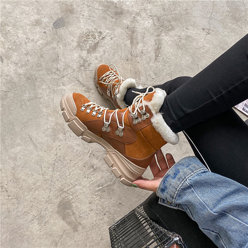 FEDONAS Cross Tied Women Quality Genuine Leather Ankle Boots Casual Office Shoes Woman Winter Vintage Warm Female Snow Boots 53