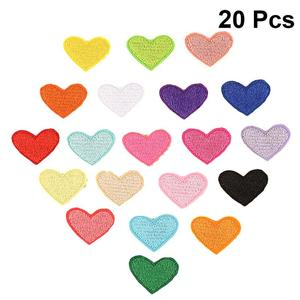 20pcs Creative Iron On Patches Embroidered Patch Stickers Heart Iron Patches for Clothes Badges