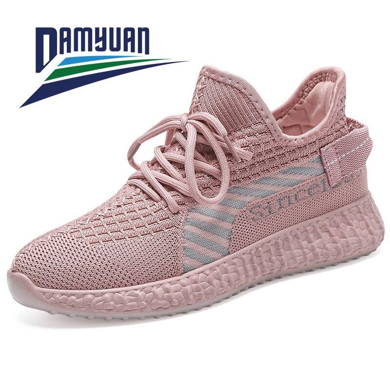 Damyuan apartamentos sapatos femininos tênis net sapatos planos casuais selvagem leve e confortável estudante salto plano respirável tênis de corrida shose