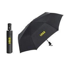 Черный складной мужской полностью автоматический зонт с логотипом