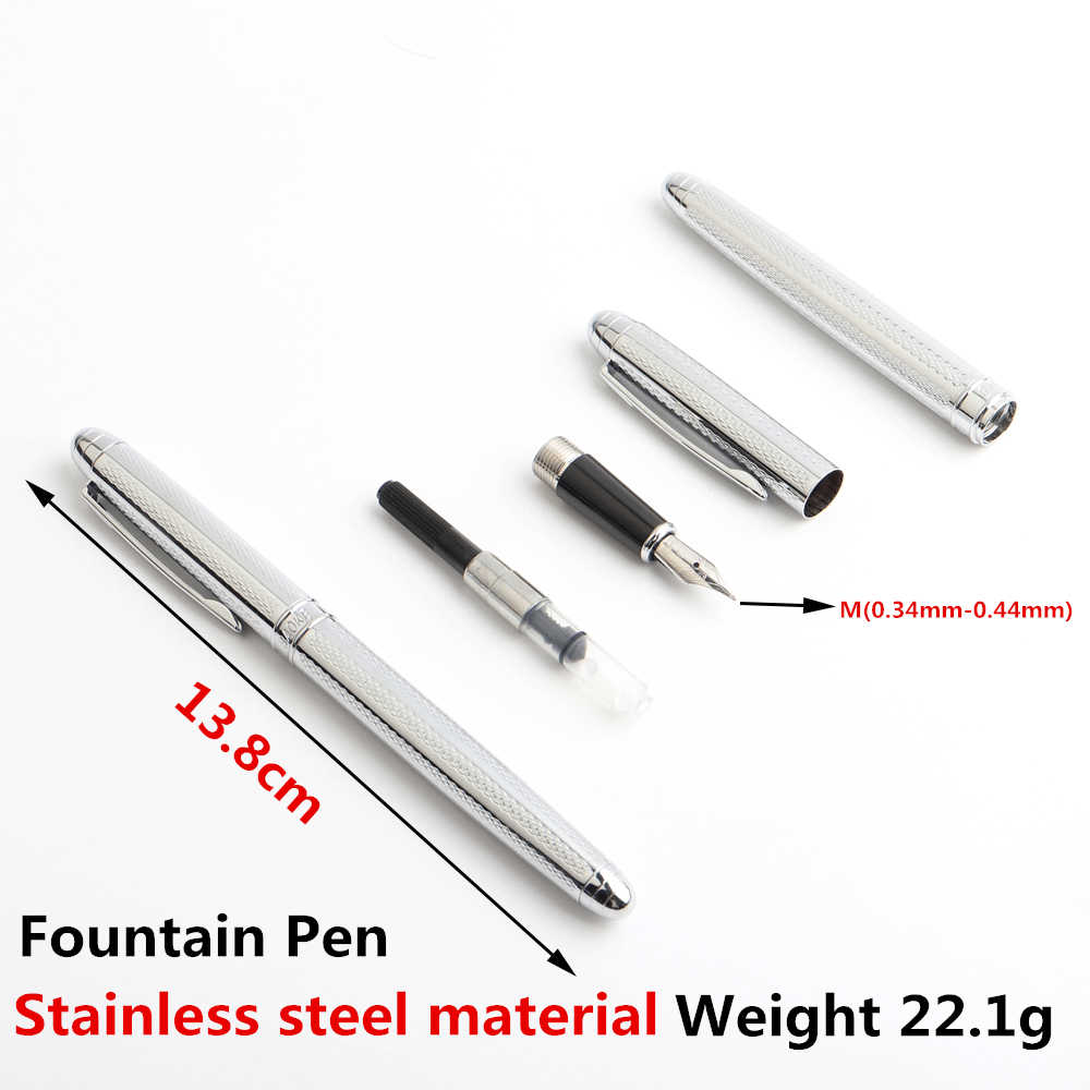 1 Pcs Berkualitas Tinggi Fountain Pen Full Metal Mewah Pulpen Hadiah Kantor Sekolah Perlengkapan Alat Tulis Menulis Hitam Biru Merah Tinta