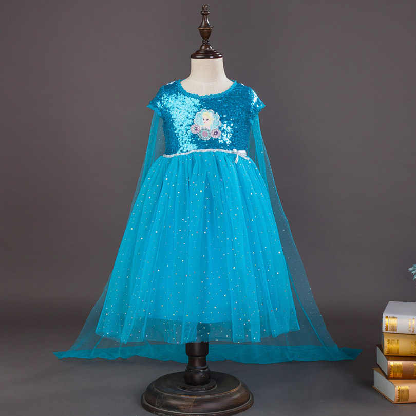 New Fashion Girl Sequin Dresses Princess Children Clothing Anna Elsa Cosplay Costume Party Dress Baby Girls Clothes Fairy