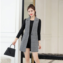 #0732 Suit Vest Waistcoat Women Casual Office Plaid Blazer Coat Female Single Button Jacket Sleeveless
