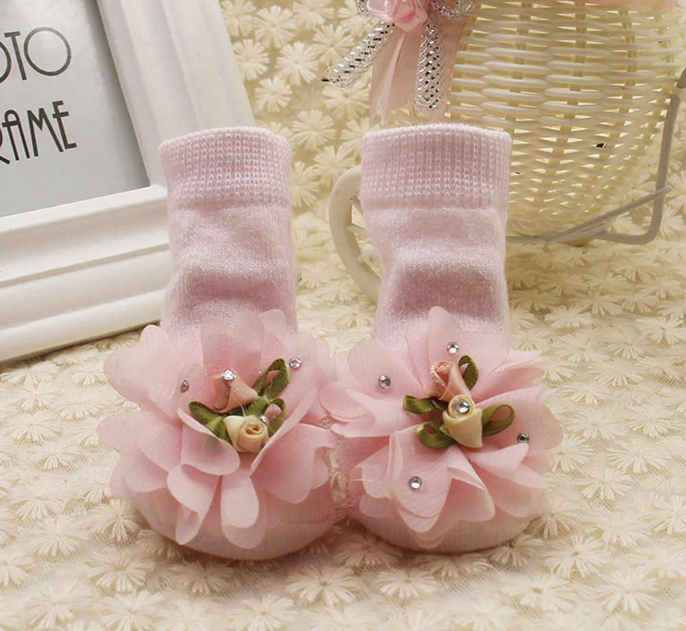 Dziecko dzieci dziewczyny wygodne kwiatowe śliczne bawełniane skarpety kapcie ciepłe skarpetki do kostki śliczne niemowlę dziewczynek koronka, falbany skarpetki księżniczki