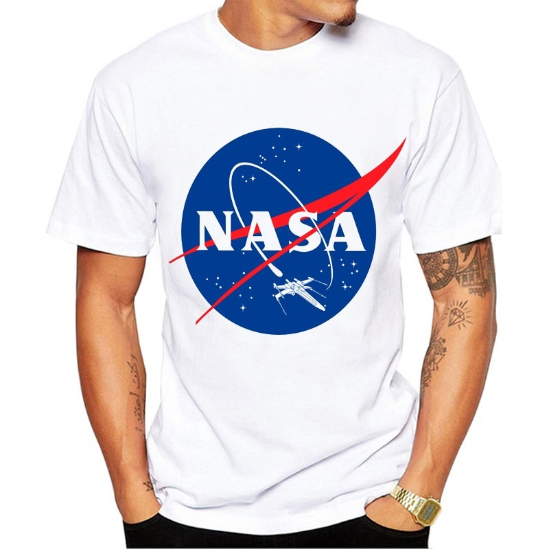 Cross Border Hot Selling MEN'S T-shirt Wish Amazon Hot Sales America Astronaut NASA Earth Printed 100% Cotton Coat