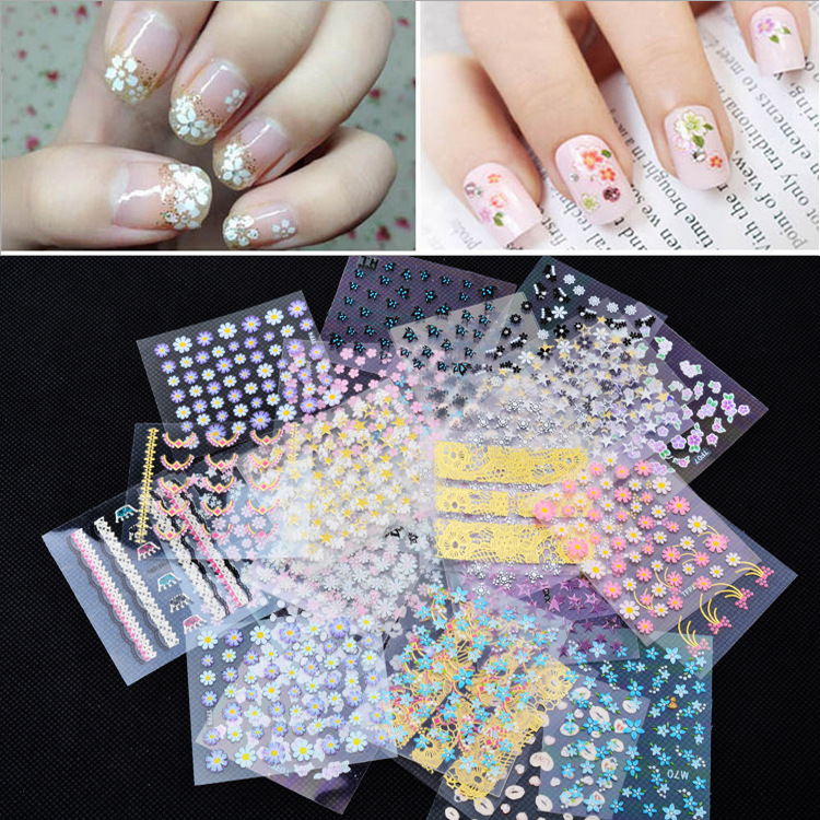 Cross Border Specifically For Foreign Trade Hot Sales Nail Sticker Wholesale 3D Nail Sticker Manicure Flower Stickers 50 One-Cas