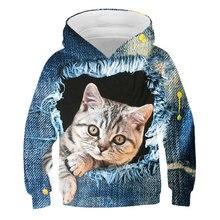 Sudadera con capucha para niña otoño poliéster sudadera impresa en 3D suéter de gato lindo de dibujos animados para adolescentes