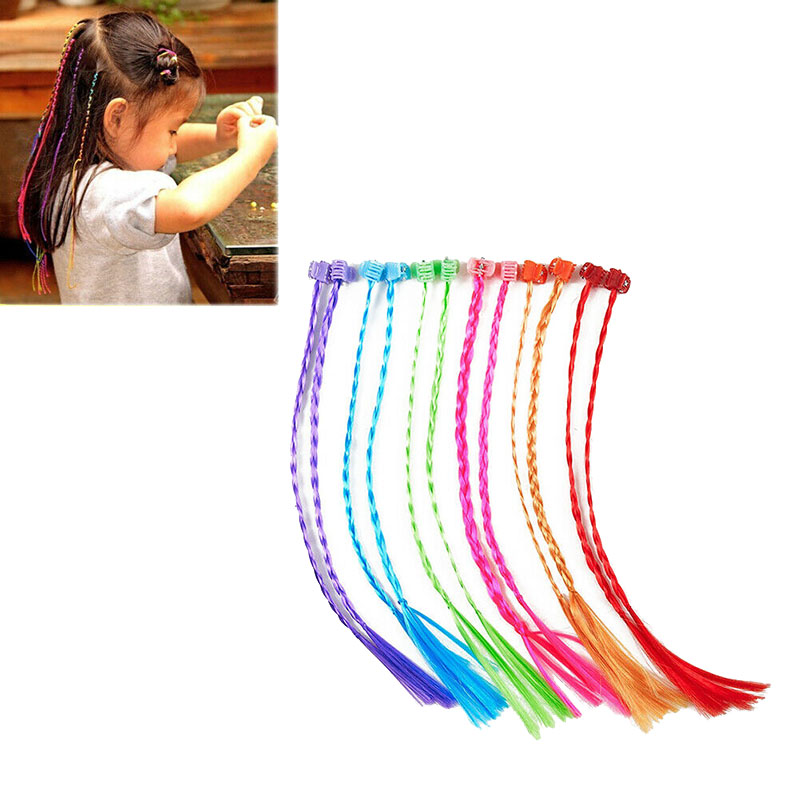12pcs 30cm Kids Girls Colorful Nylon Braided Hair Clip-On Hair Extensions Attachments Hair Extensions Long Straight Fake Hair