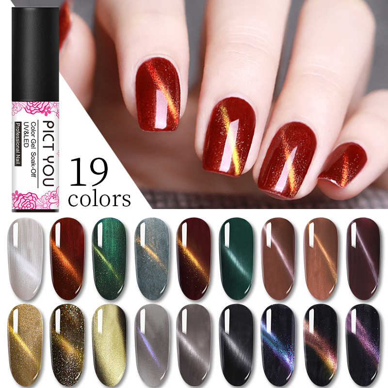 1 Botol Pict 5 Ml Cat Eye Gel Payet Rendam Off Gel Cat Seni Kuku Magnetic Nail Gel