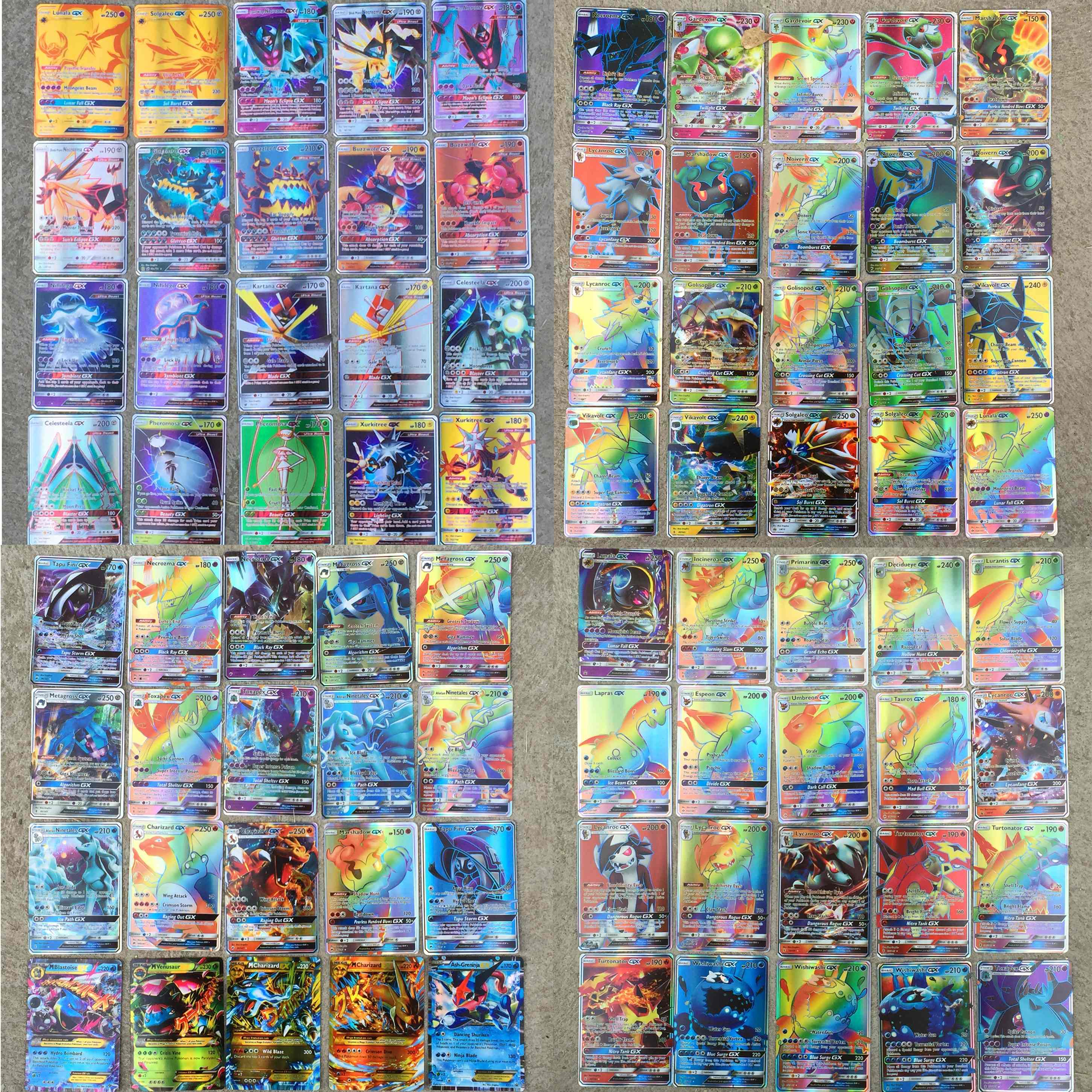 NEW Cards 120C Pcs 115GX + 5MEGA  Ultra Beast TCG Flash Shining Cards Game Battle Trading Cards For Children Toys Xmas