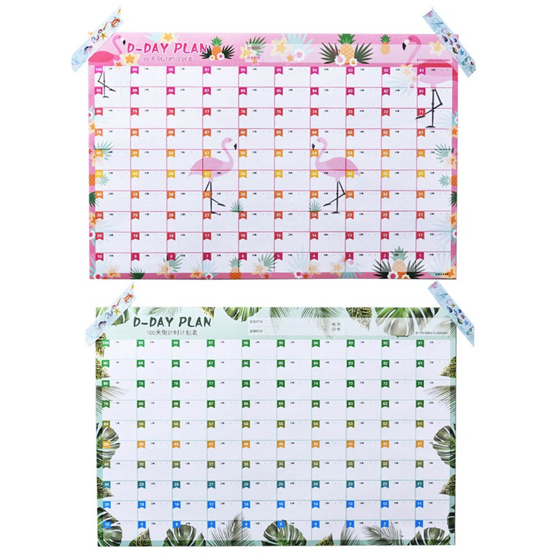 New 100 Days Countdown Calendar Learning Schedule Periodic Planner Table Gift For Kids Study Planning Learning Supplies