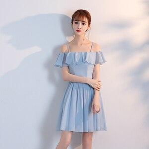 Image 3 - Женское коктейльное платье выше колена, ТРАПЕЦИЕВИДНОЕ голубое, Розовое Шифоновое простое платье без бретелек, вечерние платья для лета, Новое поступление