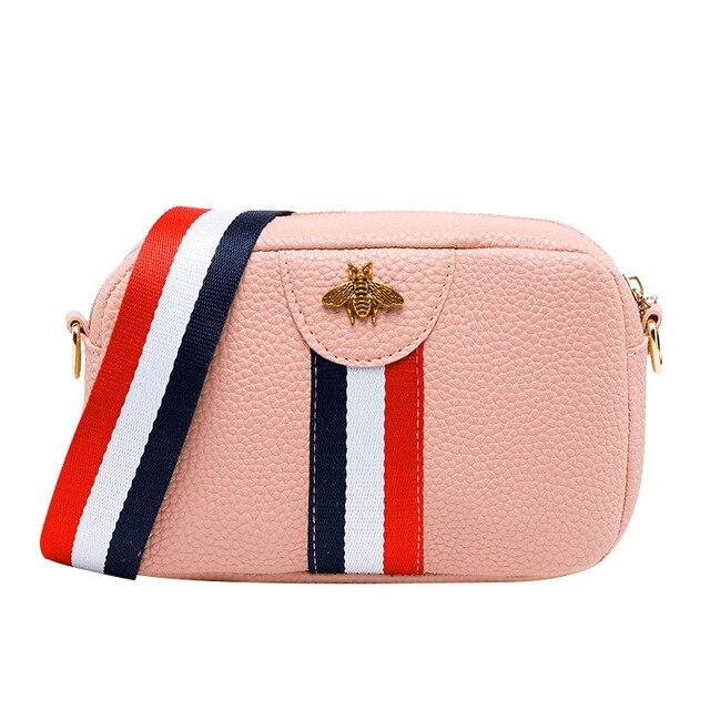Famous Brand Women Composite Messenger Bag Bee Diamonds Panelled Leather Handbag Female Shoulder Bags Top-handle Bolsas Luggage & Bags