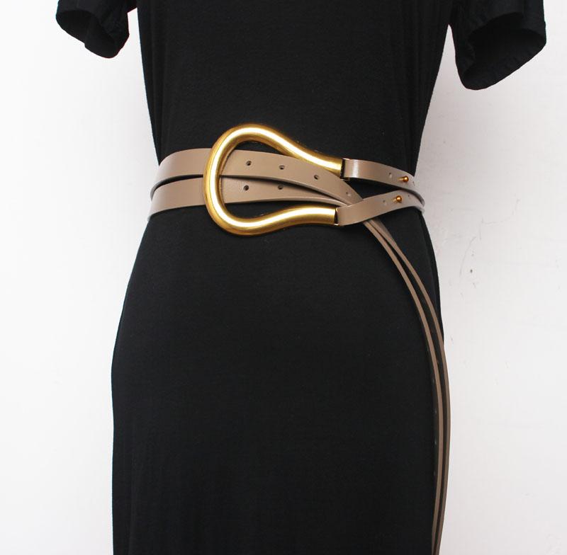Pu Leather Black Multicolor Long Wide Leg Belt Personality Women New Fashion Tide All-match Autumn Winter