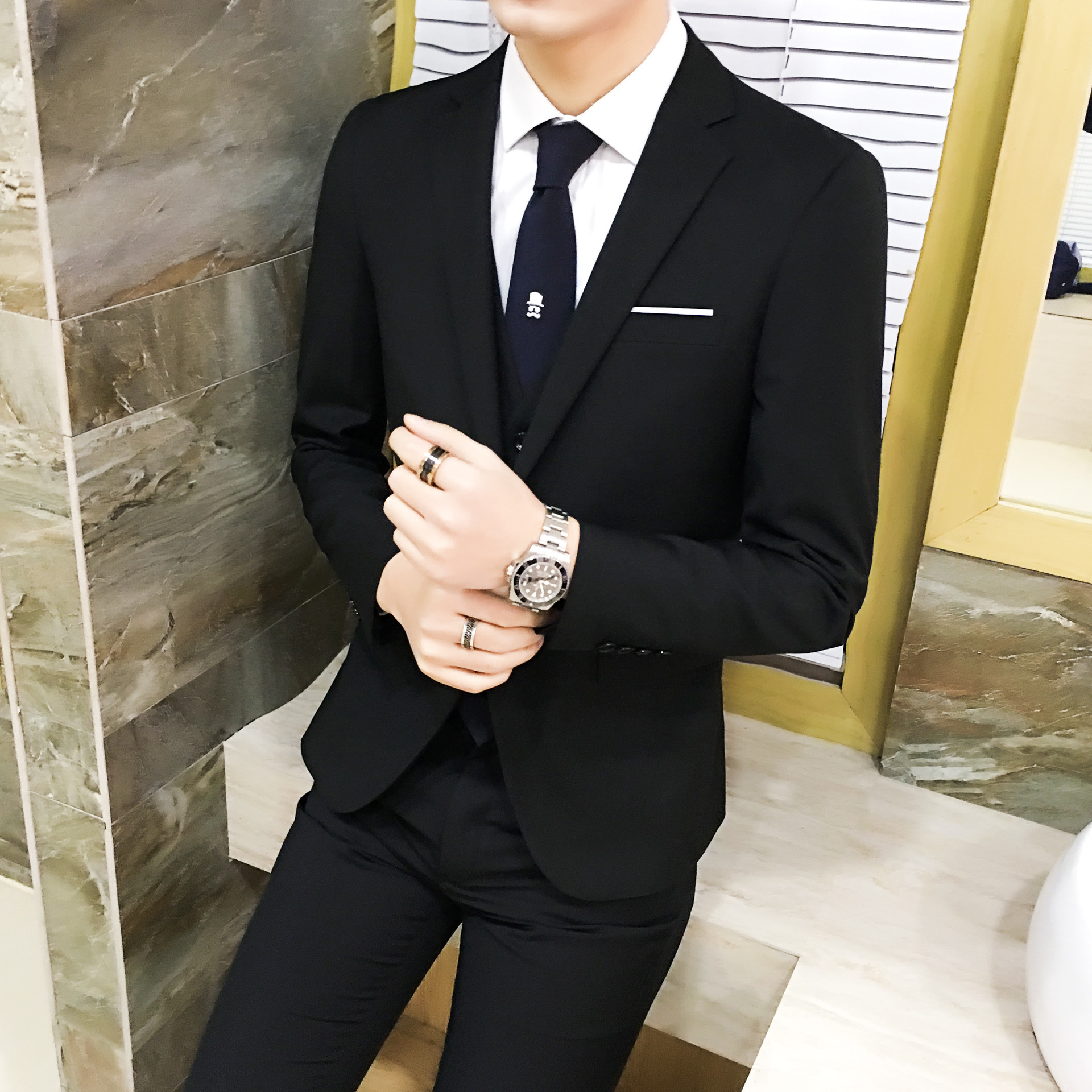 Formal Wear Suit Three-piece Set Teenager Korean-style Slim Fit Suit Groom Marriage Formal Dress Men British Style