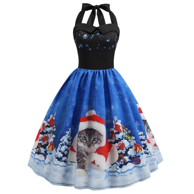 Sexy Halter Party Xmas Dress Women Fashion Robe Vintage Pinup Rockabilly Snowflake Santa Print Christmas Dress Knee-Length