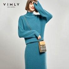 Vimly-Conjunto de dos piezas de punto para mujer, suéter de cuello alto Vintage, falda de cintura alta, ropa elegante para mujer, conjunto para mujer 99172