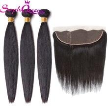 Soph queen Волосы бразильские прямые волосы пучки с фронтальной remy волосы переплетения пучки человеческих волос пучки с закрытием