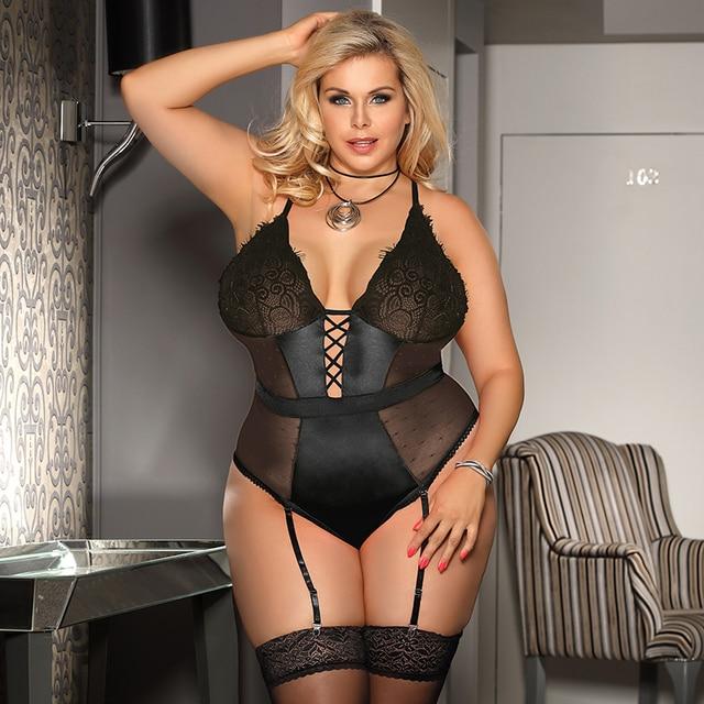 Sexy Transparent Teddies Bodysuit Lace V Neck Plus Size Lingerie Set #P1619 1