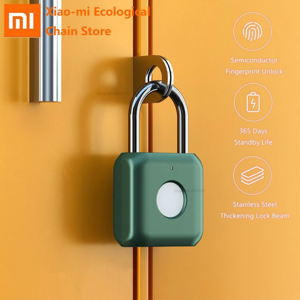 Xiaomi Intelligent Fingerprint Lock Padlock Kitty Hardcore Technology Fingerprint Open for Luggage Travel Office Safe Convinient Smart Remote Control     - title=